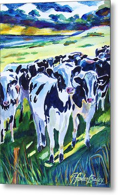 Curiosity Cows Original Sold Prints Available Metal Print by Therese Fowler-Bailey
