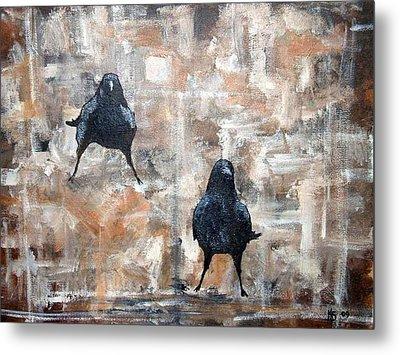 Curious Crows  Metal Print