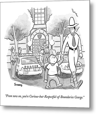 Curious George Is Escorted Out Of A Police Metal Print