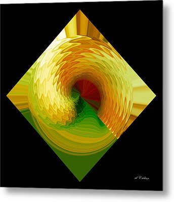Curl I In Green And Gold Metal Print by Roy Erickson