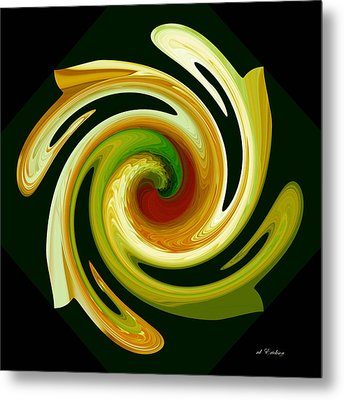 Curl II In Green And Gold Metal Print by Roy Erickson