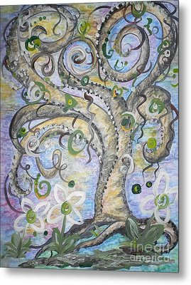 Curly Tree In Fantasy Land Metal Print by Eloise Schneider