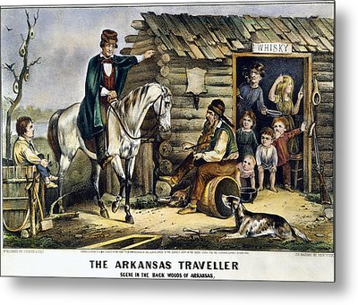 Currier & Ives The Arkansas Traveler Metal Print by Granger