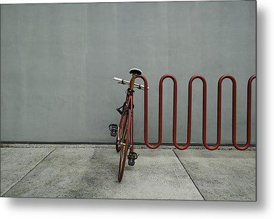 Metal Print featuring the photograph Curved Rack In Red - Urban Parking Stalls by Steven Milner