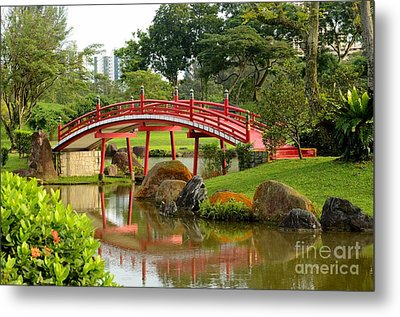 Metal Print featuring the photograph Curved Red Japanese Bridge And Stream Chinese Gardens Singapore by Imran Ahmed