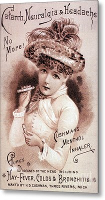 Cushmans Menthol Inhaler-headache Cure Metal Print by Science Source