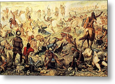 Custer's Last Fight Detail Metal Print by Unknown
