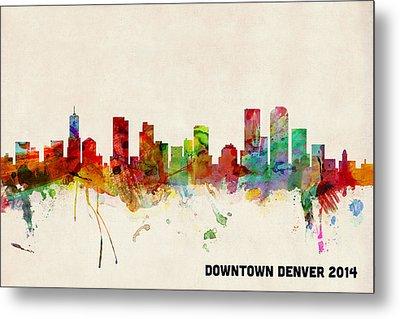 Custom Denver Skyline Metal Print by Michael Tompsett