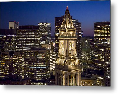 Custom House Tower At Night Metal Print by Dave Cleaveland