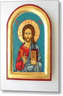 Custom Jesus Christ Pantokrator Hand Painted Byzantine Icon Christian Art First Communion Gift  Metal Print by Denise ClemencoIcons
