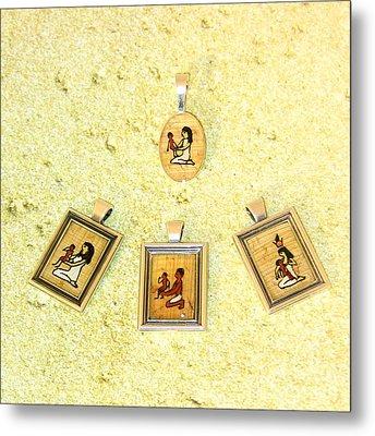 Custom Parent's Amulet Egyptian Papyrus Necklace Metal Print by Pet Serrano