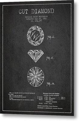 Cut Diamond Patent From 1966 - Dark Metal Print by Aged Pixel