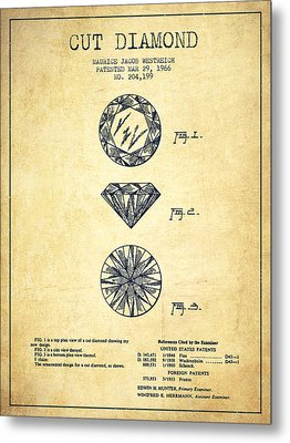 Cut Diamond Patent From 1966 - Vintage Metal Print