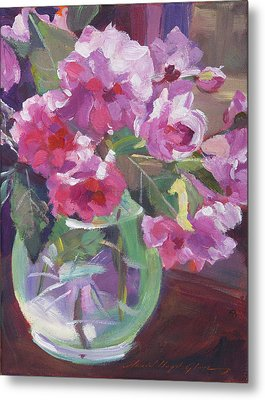 Cut Flowers In Glass Metal Print
