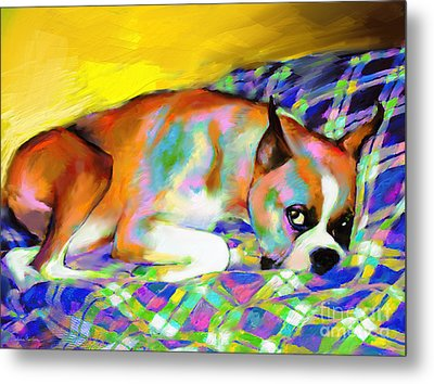 Cute Boxer Dog Portrait Painting Metal Print