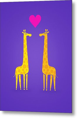 Cute Cartoon Giraffe Couple In Love Purple Edition Metal Print by Philipp Rietz