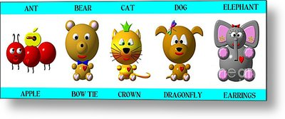 Cute Critters With Heart A To E In Blue Metal Print by Rose Santuci-Sofranko