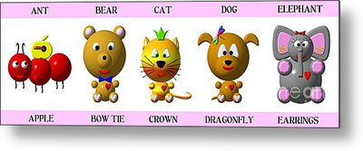 Cute Critters With Heart A To E In Pink Metal Print by Rose Santuci-Sofranko