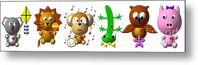 Cute Critters With Heart K To P Metal Print by Rose Santuci-Sofranko