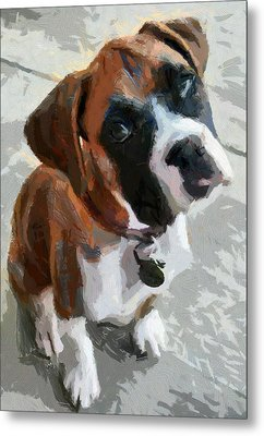 Metal Print featuring the painting Cute Dog by Georgi Dimitrov