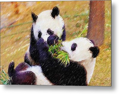 Cute Pandas Play Together Metal Print by Lanjee Chee