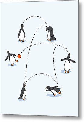 Cute Penguin Art Metal Print by Christy Beckwith