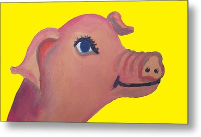 Cute Pig On Yellow Metal Print by Cherie Sexsmith
