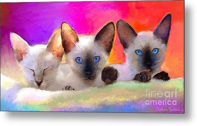 Cute Siamese Kittens Cats  Metal Print by Svetlana Novikova
