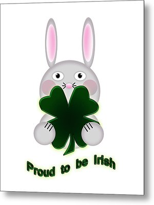Cute St. Patricks Day Bunny Proud To Be Irish Metal Print