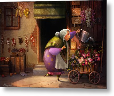 Cute Village Flower Shop Metal Print by Kristina Vardazaryan