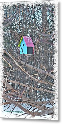 Cutest Little Birdhouse Metal Print by Donna Brown