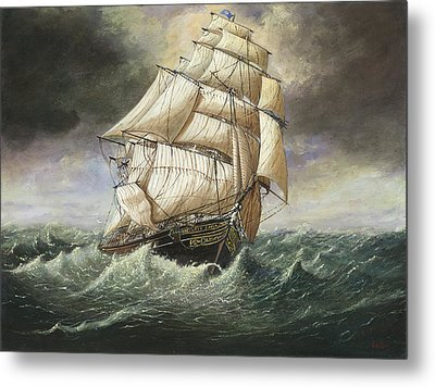 Cutty Sark Caught In A Squall Metal Print by Eric Bellis