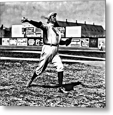 Cy Young Pitching Metal Print