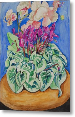 Cyclamen And Orchids In A Flower Pot Metal Print by Esther Newman-Cohen