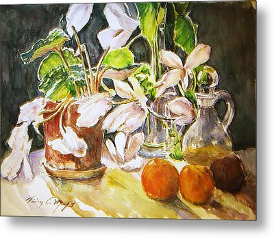Cyclamen With Tangerines And Kiwi Metal Print by Vivian  Castillo M