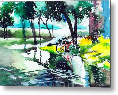 Cycle In The Puddle Metal Print by Anil Nene