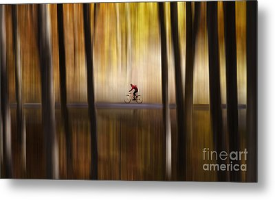 Cyclist In The Forest Metal Print
