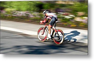 Cyclist Racing The Clock Metal Print