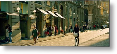 Cyclists And Pedestrians On A Street Metal Print by Panoramic Images