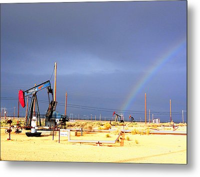 Cymric Field Rainbow Metal Print by Lanita Williams