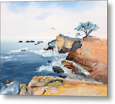 Metal Print featuring the painting Cypress And Seagulls by Asha Carolyn Young