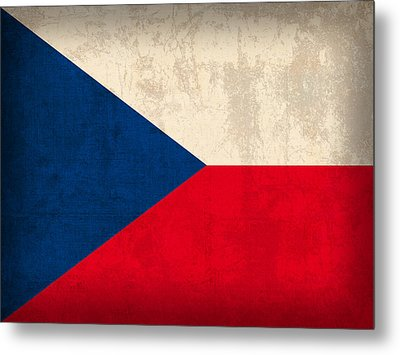 Czech Republic Flag Vintage Distressed Finish Metal Print by Design Turnpike