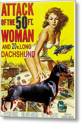 Dachshund Art Canvas Print - Attack Of The 50ft Woman Movie Poster Metal Print