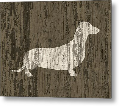 Dachshund On Wood Metal Print