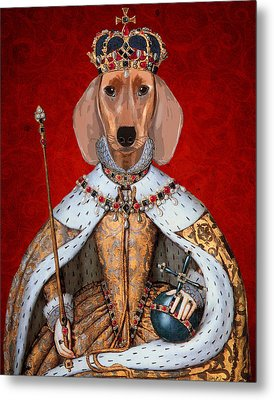 Dachshund Queen Metal Print