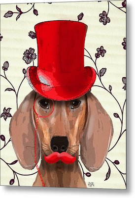 Dachshund Red Hat And Moustache Metal Print