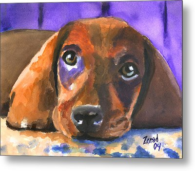 Dachshund Watercolor Metal Print
