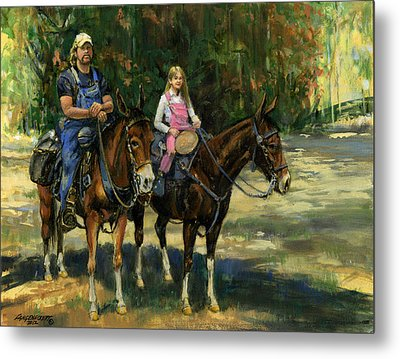 Dad And Daughter On Gatied Mules Metal Print by Don  Langeneckert