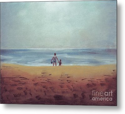 Daddy At The Beach Metal Print by Samantha Geernaert