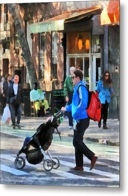 Daddy Pushing Stroller Greenwich Village Metal Print by Susan Savad